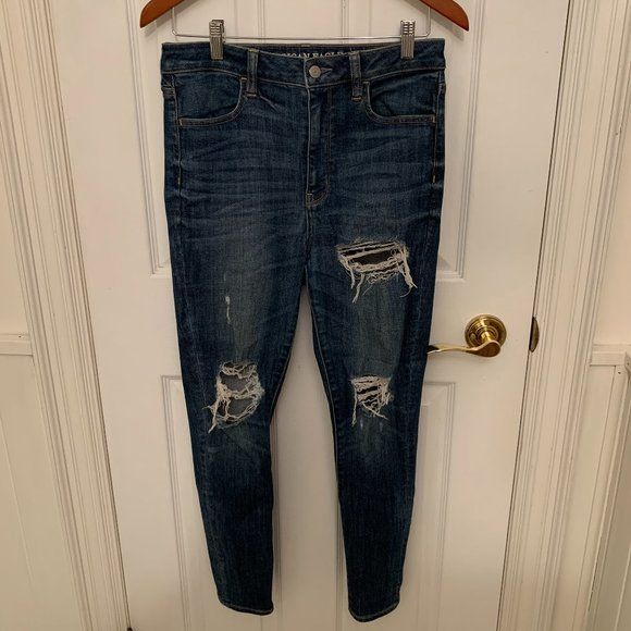 American Eagle High Waisted Ripped Jeans - Size 8